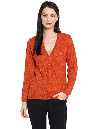 a457255a0d38 Monte Carlo Orange Self Design Pure Wool V Neck Cardigan  Amazon.in   Clothing   Accessories