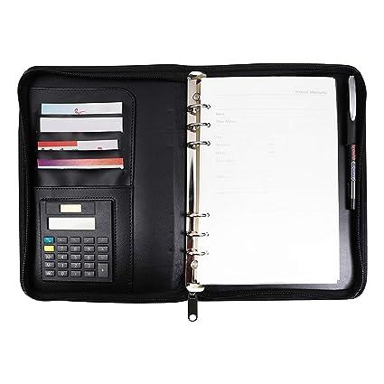 Agenda Organizador Personal A5 Cuero Sintético Negro con Calculadora por Kurtzy - Carpeta con Aro Rellenable - Soporte Tarjetas de Presentación - ...