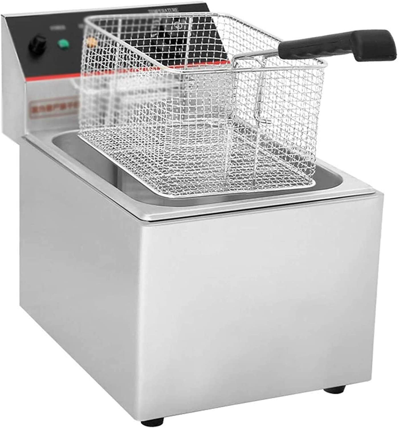 Stainless Steel Deep Fat Fryer, Electric Chip Chicken Fryers For Home&Commercial Kitchen Restaurant Countertop Food Cooking 2117 (Size : Single cylinder)