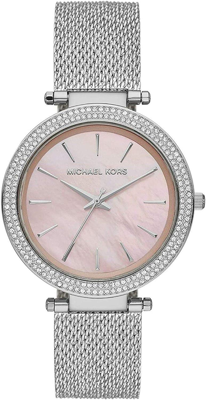 Michael Kors Darci - Reloj de Tres manecillas de Cristal Plateado - MK4518