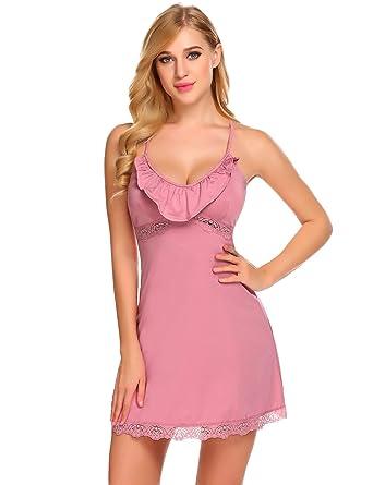 f821c92ba2 Adome Women Cotton Nightdress Flounced Neck Chemise Strappy Nighty Sleepwear  (Lavender