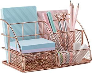 Rose Gold Desk Organizer for Women, AUPSEN Mesh Office Supplies Desk Accessories, Features 5 Compartments + 1 Mini Sliding Drawer