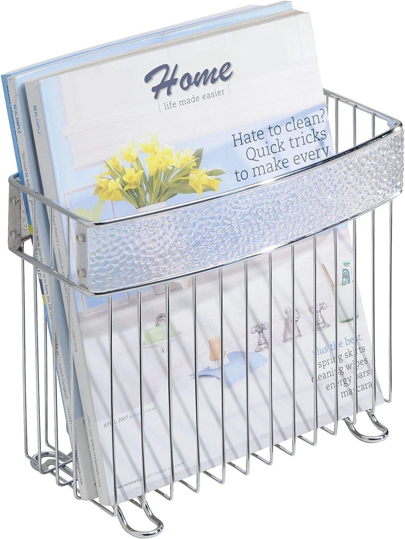 Amazon Com Idesign 33350 Rain Metal Free Standing Magazine Holder Newspaper And Book Storage For Bathroom Office Bedroom Den 5 X 10 X 8 5 Home Kitchen