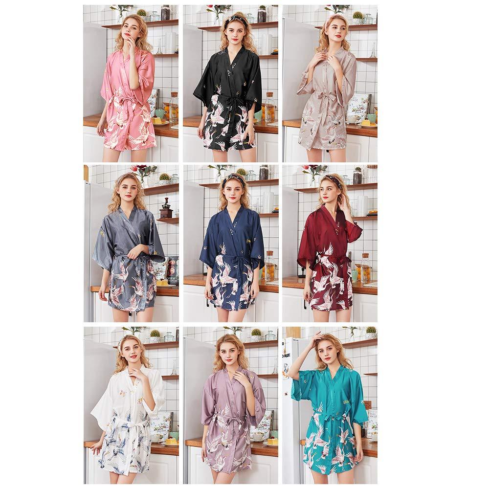Balabala Women Short Kimono Robes Bridesmaid Peacock and Blossoms Stain Silk Nightwear