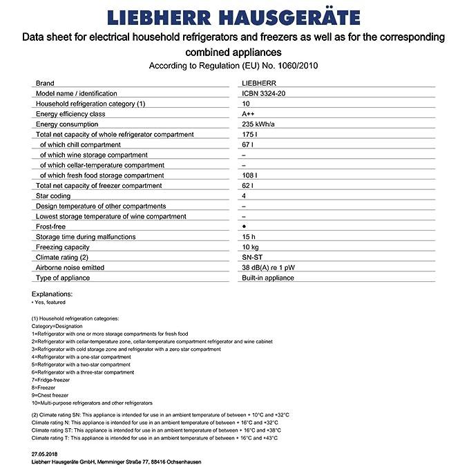 Liebherr ICBN 3324 Integrado 237L A++ Blanco nevera y congelador - Frigorífico (237 L, SN-ST, 10 kg/24h, A++, Compartimiento de zona fresca, ...