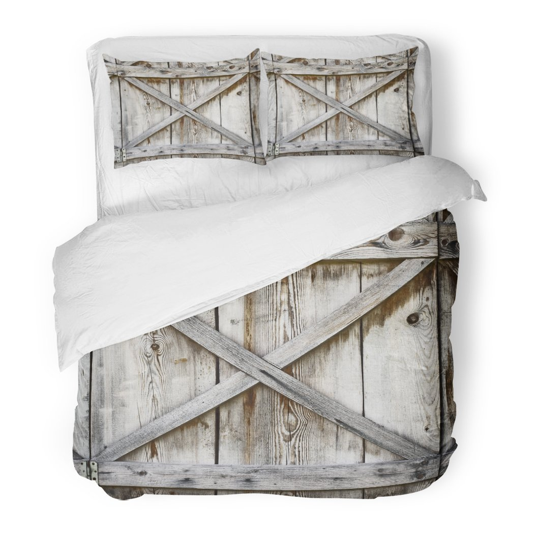 SanChic Duvet Cover Set Door Plank Wooden Wall of Old Barn Wood Decorative Bedding Set with 2 Pillow Shams King Size