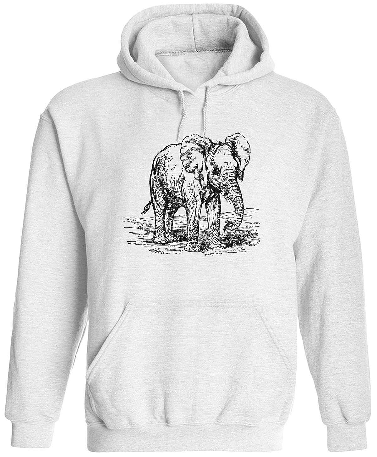 Austin Ink Apparel Wrinkled Old Elephant Unisex Adult Hooded Pullover Sweatshirt