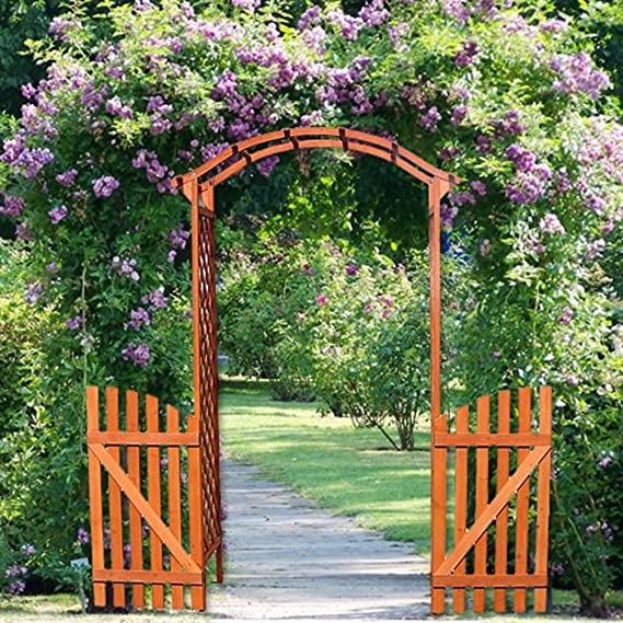 Arco – Puerta Pergola con puerta madera Rose Rank ayuda enrejado ...