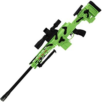DNA Leisure New 2019 Battery Operated Rapid Firing USB Chargeable Sniper  Style Green and Black Camo GEL SOFT Water Crystal Toy Gun Blaster Set with
