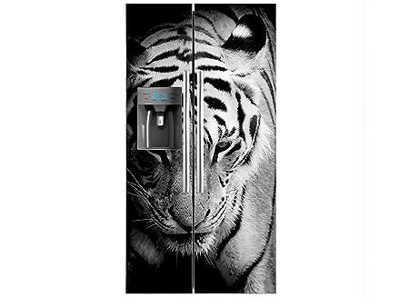 Vinilo Frigorífico Americano Cabeza Tigre Blanco y Negro ...