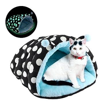 Magicpeony Cama para Gatos pequeña Cama para Perro, Luminosa Cama para Mascotas para Gatos Perros Suave Adecuado Gato Cueva Lunares Mascota Nido 45 * 40 ...