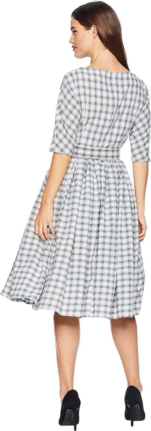 ff7e1caab042 Unique Vintage Womens 1940s Style Sleeved Sally Swing Dress at Amazon  Women s Clothing store