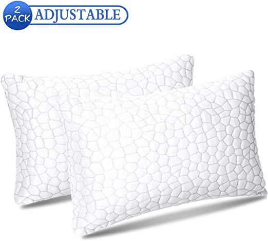 1//2 pcs Bamboo Memory Foam Bed Pillow Queen//King Size Hypoallergenic w//Carry Bag