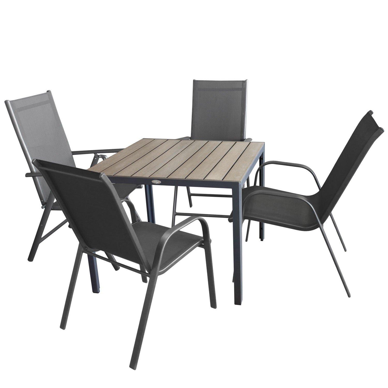 Gartengarnitur, Aluminium Gartentisch Mit Polywood Tischplatte Grau 90x90cm  + 2x Aluminium Hochlehner, 7 Fach Verstellbar, Anthrazit + 2x Stapelstuhl,  ...