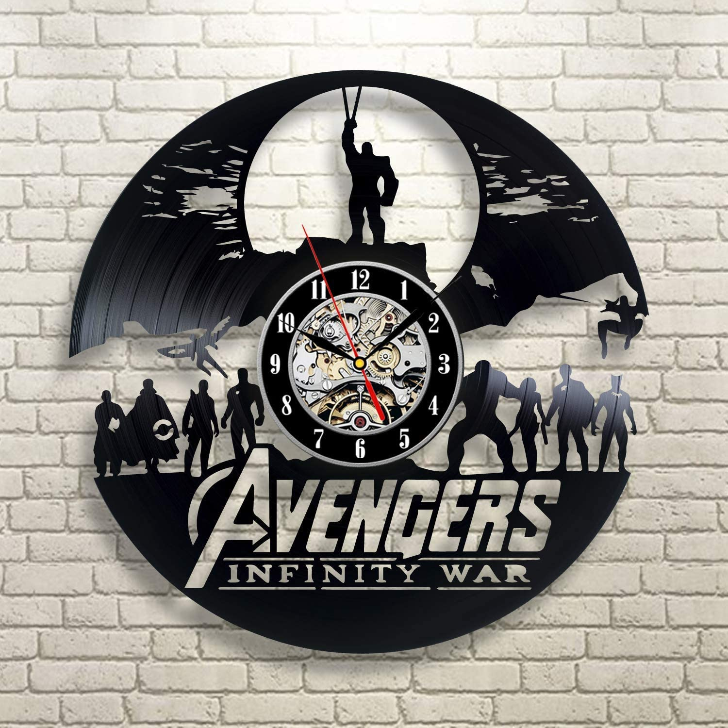 Avengers Marvel Comics Art Design Gift for Music Lover Art Wall Clock Vinyl Wall Clock - Get Unique Wall Home Decor - Gift Ideas for Him and Her - Original Handmade Vintage Gift
