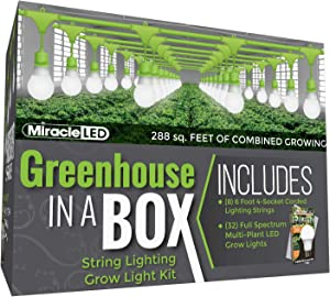 Miracle LED Greenhouse in a Box Grow Kit for Indoor Plants - Includes 4 Full Spectrum Daylight Multi-Plant Wide Beam Grow Light Bulbs & One 4-Socket Corded Light Fixture (8-Pack - 8 Strings, 32 Bulb)