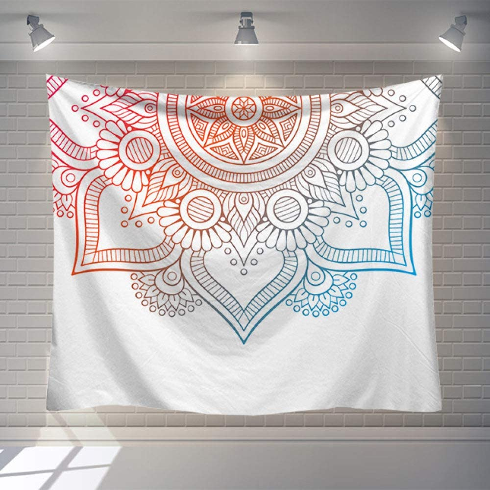 Tapestry Wall Hanging Light Colors Mandala, Psychedelic Bohemian Hippie Trippy Wall Tapestry Home Decorations for Living Room Bedroom Dorm Decor,37.4×28.7inches (95×73cm)