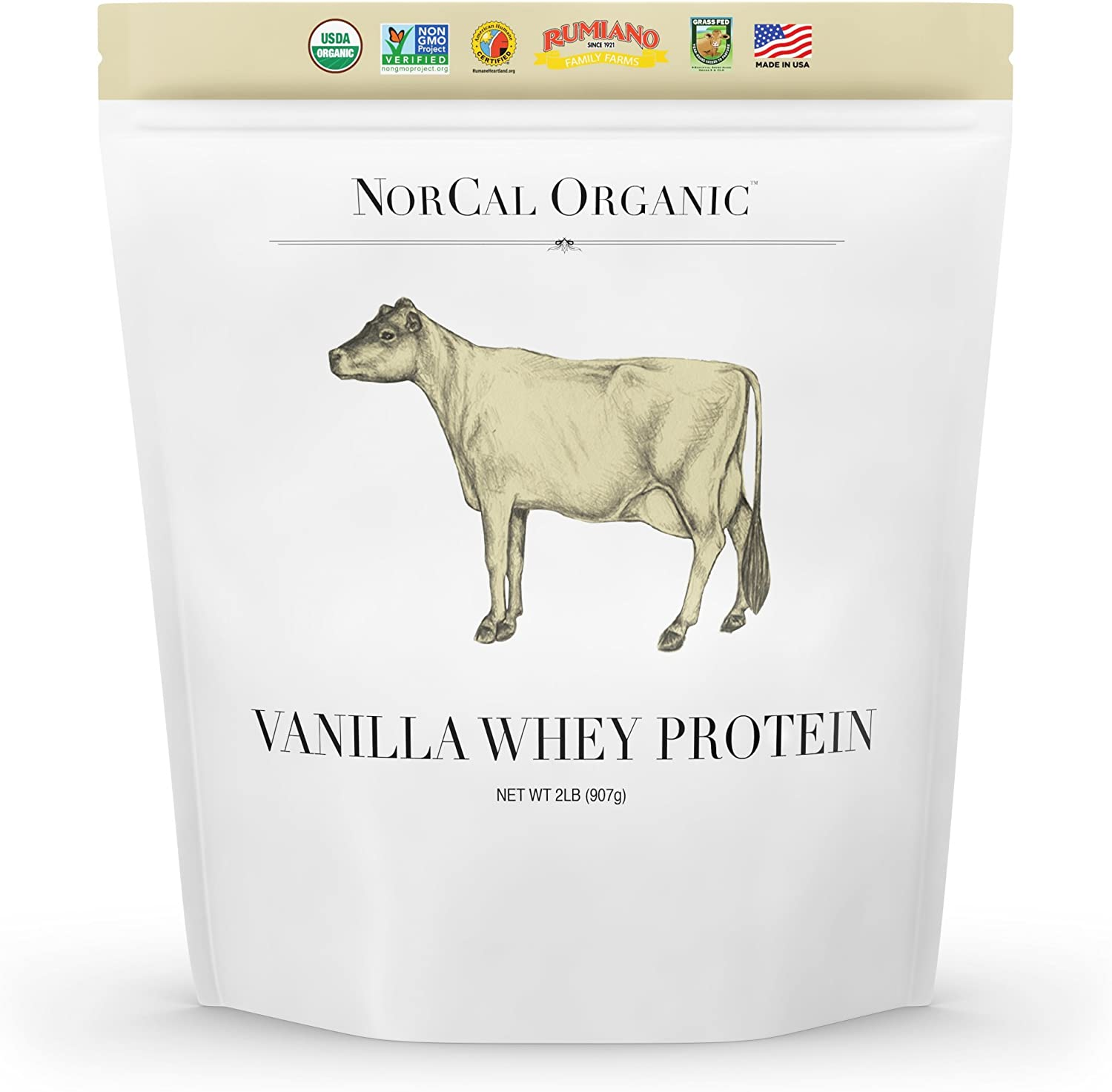 Norcal Organic Grass Fed Whey Protein Powder, Vanilla, 2lbs 21g Protein, 4.9g BCAA, 100 Calories per Serving Pasture Raised, Non-Denatured, Non GMO, Soy Free, Gluten Free, Source Organic