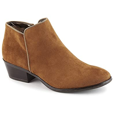 Isaac Mizrahi Trendy Stacked Heel Ankle Boots Zip Buckle Brandy 10M NEW A234807