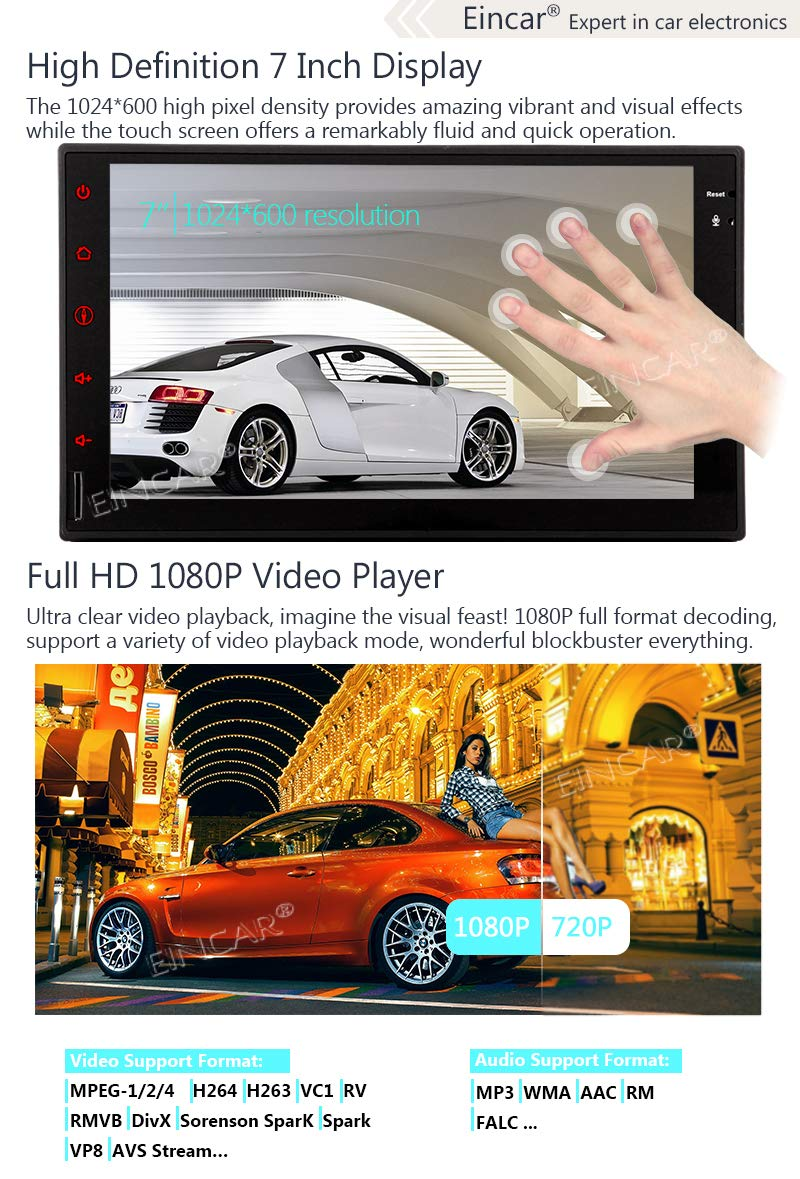 Free Rear View Camera Double DIN 2DIN Car Stereo Android 8.1 OS 2GB RAM 16GB ROM 7 Inch Capacitive Touch Screen Bluetooth GPS Navigation Quad Core WiFi 3G//4G FM//AM RDS Radio HD 1080P Video Player Rem