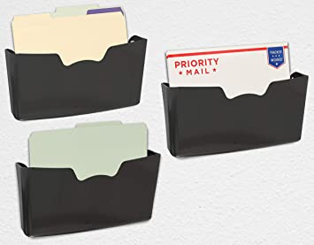 Simplehouseware 3 Pack Clear Single Pocket Wall Mount File Holder