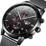 Reloj para Hombre Impermeable Deportivo Reloj cronógrafo Top Marca Luxury LIGE Negocio Reloj Negro Caso Correa Reloj