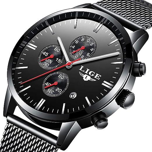 Reloj para Hombre Impermeable Deportivo Reloj cronógrafo Top Marca Luxury LIGE Negocio Reloj Negro Caso Correa Reloj: Amazon.es: Relojes