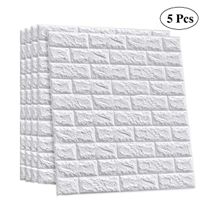 LEISIME 3D Wall Sticker Self-Adhesive Wall Panels Waterproof PE Foam White Wallpaper for Living Room TV Wall and Home Decor (Brick 5 Pack - 29 Sq Ft)