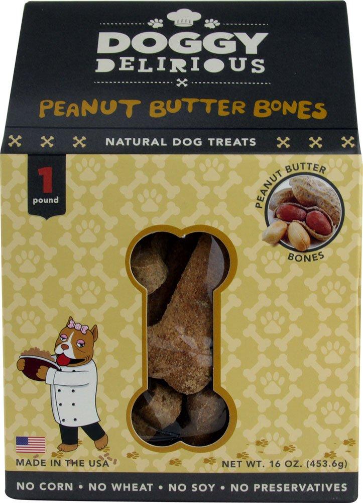 Doggy Delirious Natural Dog Treats Peanut Butter Bones- 16 oz (1 Pack)