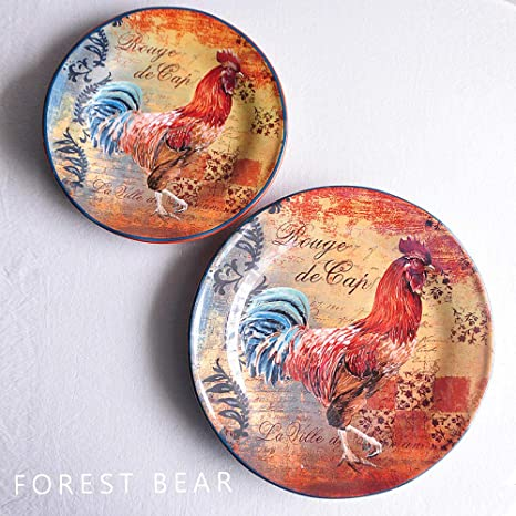 Amazon Com Amazyn Ceramic Tableware Cock Series Oil Painting Style Rooster Large Plate Small Set Rooster Big Plate 4 Home Kitchen
