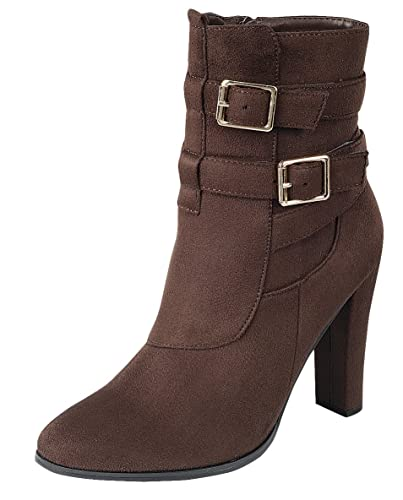 Women's Strappy Buckle Chunky Wrapped Heel Ankle Bootie