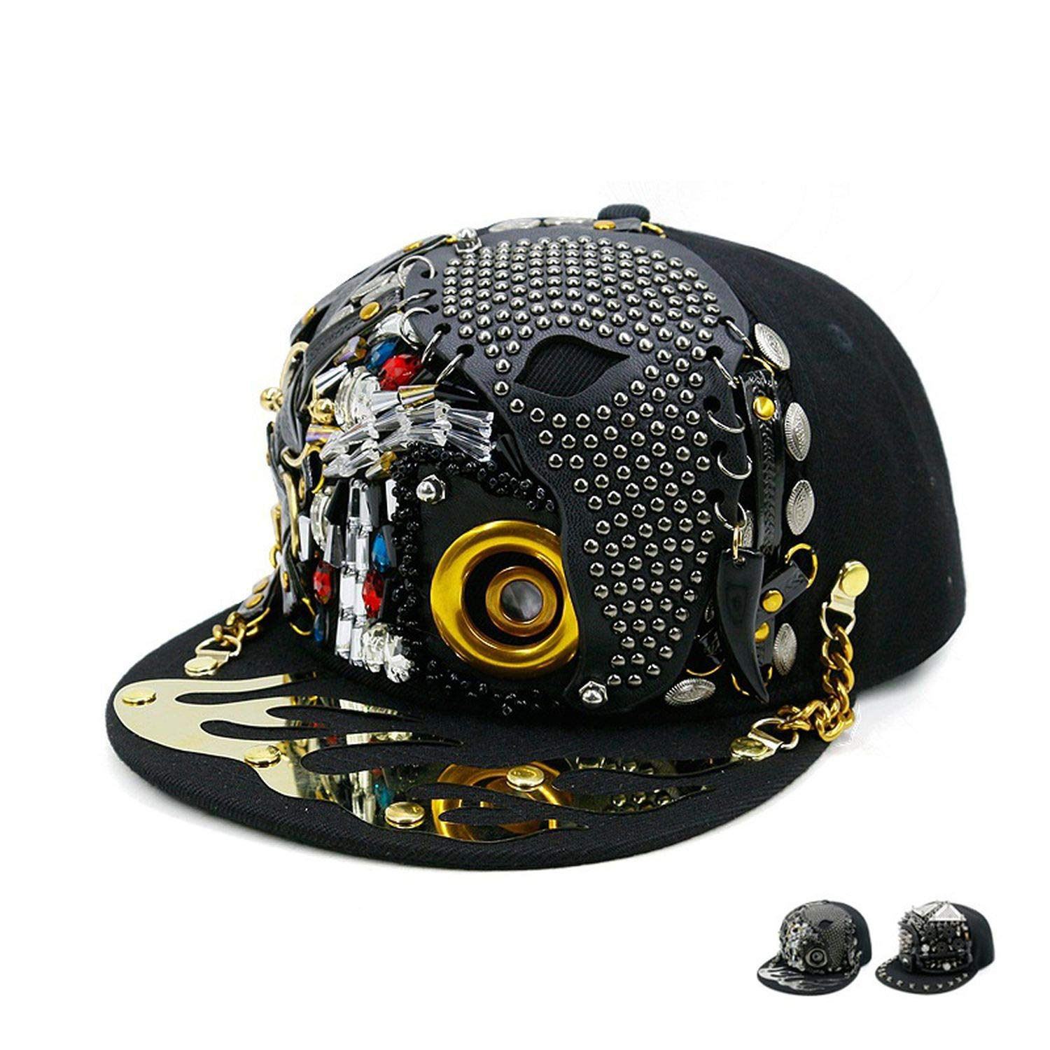 401906a9e38da Amazon.com  Hip Hop Caps Men Women Steampunk Baseball Caps Shows Luxury  Design Flat Bone Snapbacks Punk Hiphop Novelty