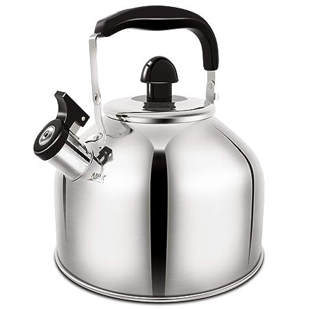 Tea Kettle Whistling Stainless Steel Teakettle for All Stovetop With Ergonomic Handle – 3.9 Quart Whistling Teapot