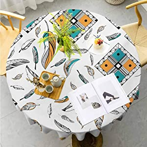 "Jktown Boho Washable Polyester Round Tablecloth Tribal Bohemian Bird Feather Patterns with Geometric Square Vintage Motifs Suitable for Indoor Outdoor Round Tables Diameter 50"",Teal Orange Black"