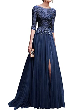 d6f263a28e9 Elegant Lace Appliques Tulle 3 4 Sleeves Long Prom Dresses 2018 for Women  Navy Blue