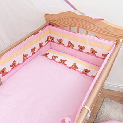to fit 140 x 70 cm Cot Bed, White 6 Piece Baby Children Bedding Set to Fit 120x60 or 140x70 cm Toddler Cot Bed
