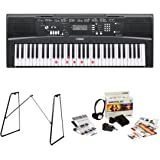 Yamaha EZ220 61 Lighted Key Portable Keyboard Bundle with Yamaha L3C Attachable Keyboard Stand and Survival