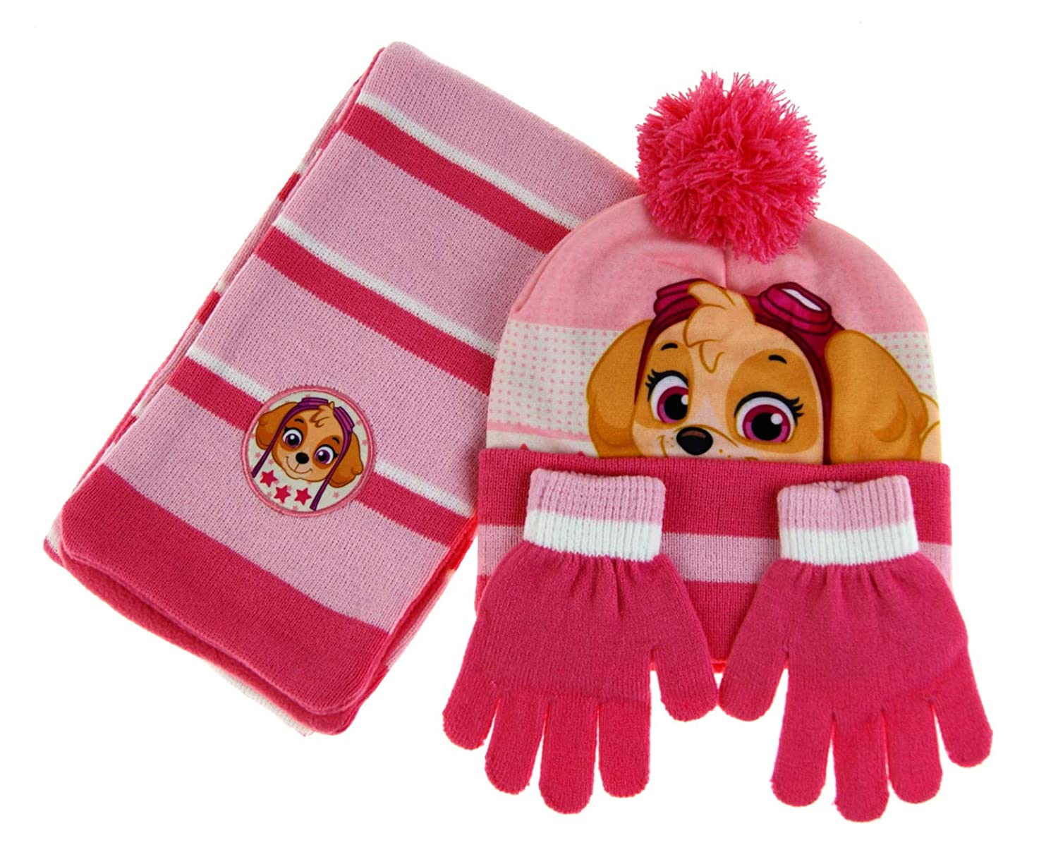 Pink Skye PAW Patrol Thermal Winter Hat /& Gloves Set