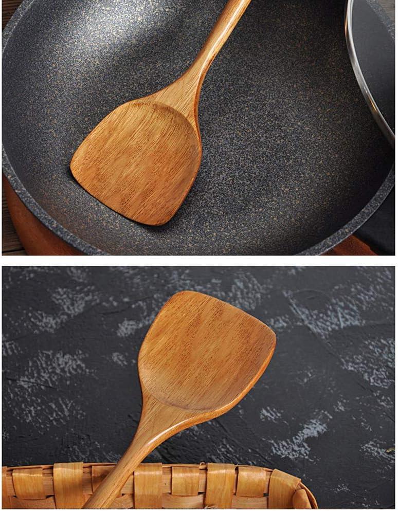 handgefertigt f/ür K/üche Sch/öpfl/öffel mit langem Griff geschlitzter Pfannenwender 4 Sets Pfannenwender aus Holz Kochgeschirr