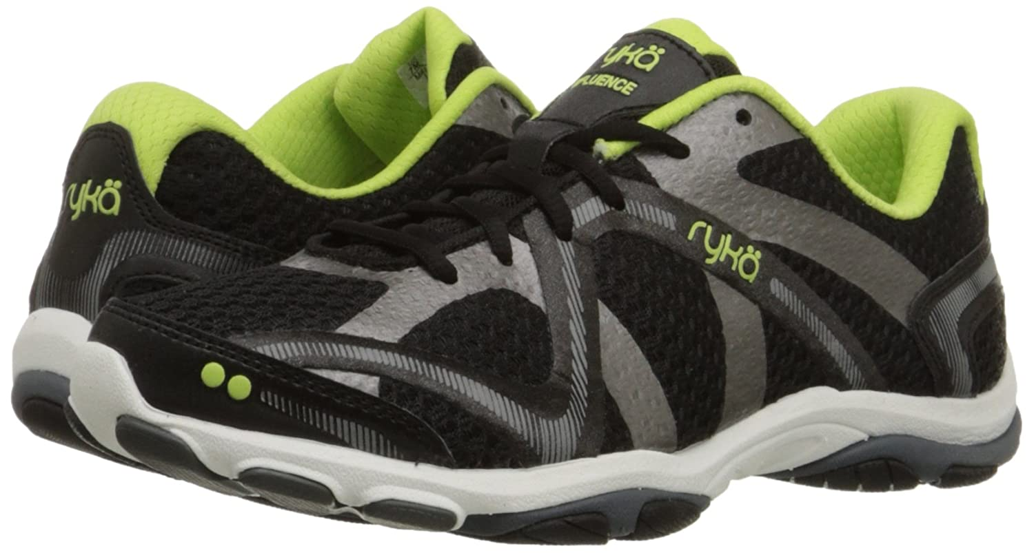 Ryka Women's Influence Cross Training Shoe B00MFX9CJ0 10 B(M) US|Black/Sharp Green/Forge Grey/Metallic