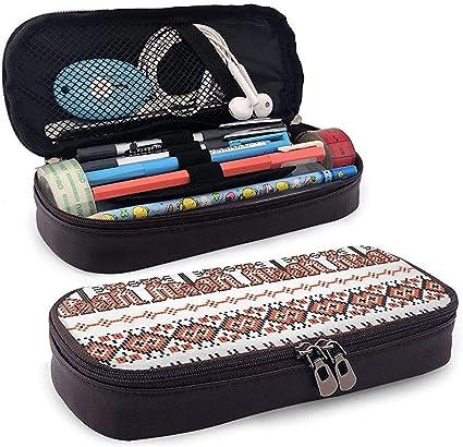 Stitch Ethnic Ukraine Funda de cuero para lápices Bolsa Estuche para bolígrafo con cremallera: Amazon.es: Oficina y papelería