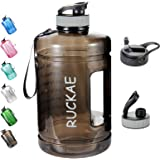 Ruckae Water Bottle, 1 Gallon Water Bottle with Straw and One Replaceable Lids, 128OZ Motivational Water Bottle with Time Mar