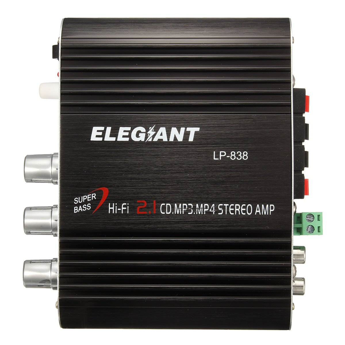 ELEGIANT 20W 12V Mini Hi-Fi Amplifier Booster Radio MP3 Stereo with Power Adapter for Car Motorcycle Home Black+Power Adapter
