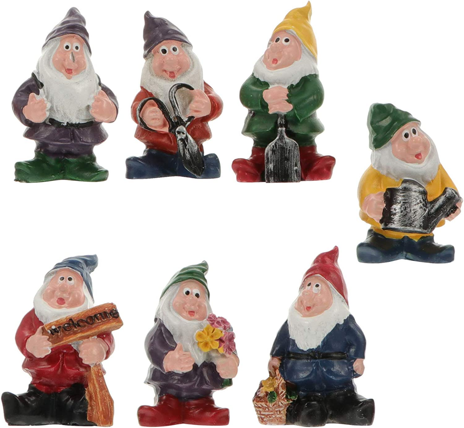 NUOBESTY 7 Pcs Mini Gnomes Fairy Garden Accessories Set Seven Dwarfs Statue with Flowers and Tools for Decoration Small Ornaments Cake Topper Decor
