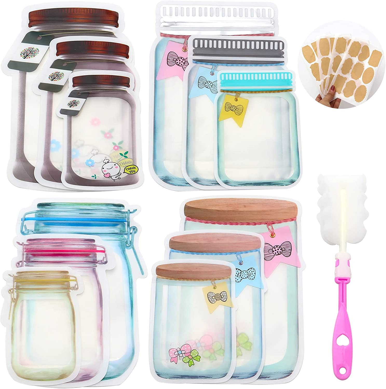 36 pcs Mason Jar Ziplock Bags,Reusable Zipper Sealed Snacks Sandwich Bags with Cleaning Brush and Custom Labels,Airtight Food Storage Pouch for Kitchen Travel Camping Organizer and Kids