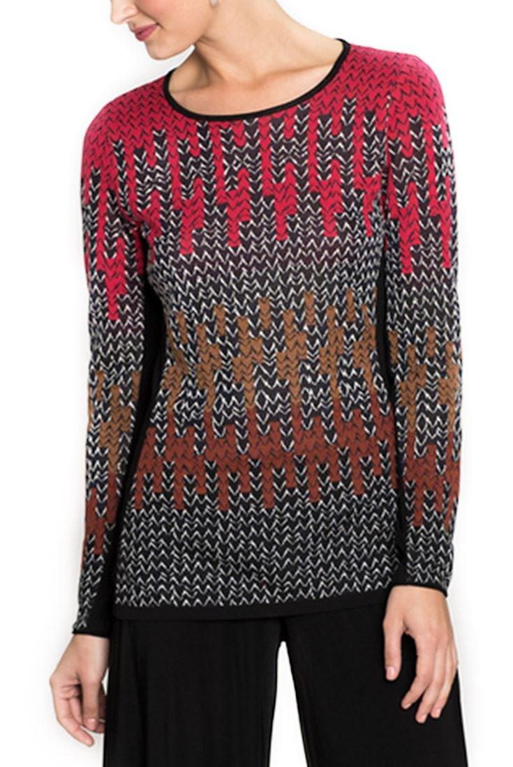 NIC+ZOE Women's Sweater Sunset Knit Top - Multi - M