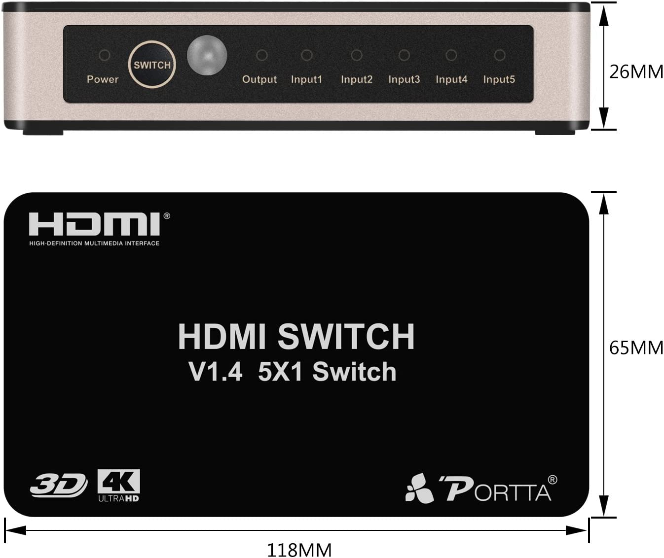 Portta HDMI Switch//Switcher 3 Port 3x1 v1.3 with 1.5 ft Pigtail Support 3D 1080p
