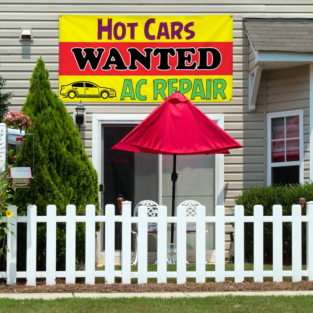 44inx110in Vinyl Banner Sign Hot Cars Wanted Ac Repair Automotive Marketing Advertising Yellow One Banner 8 Grommets Multiple Sizes Available