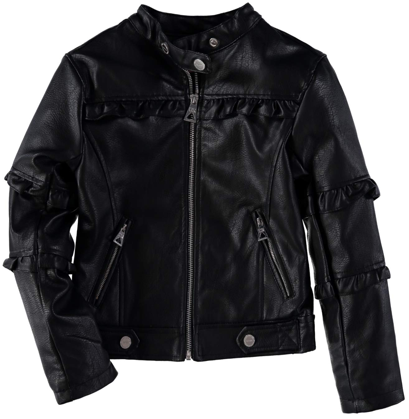 Urban Republic Girls' Faux Leather Ruffle Moto Jacket (Black, 7/8) by Urban Republic (Image #1)