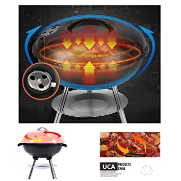 UCA BBQ SKJ01 - Barbacoa portátil, 36 cm, Color Rojo